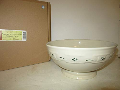 Longaberger Footed Bowl Pottery Heritage Green