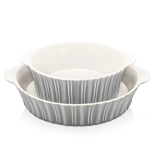 (Bakeware Set, Krokori Round Baking Pan Ceramic Glaze Baking Dish for Cooking, Kitchen, Cake Dinner, Banquet and Daily Use - (2PCS of Round-Grey))