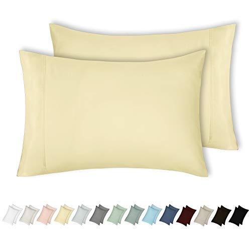 California Design Den 400 Thread Count 100% Cotton Pillow Cases,Vanilla Yellow Standard Pillowcase Set of 2, Long - Staple Combed Pure Natural Cotton Pillowcase, Soft & Silky Sateen Weave