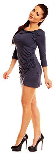 4XL S top jersey Femme 3 995z courte Bleu tunique manches 4 Zeta Ville Robe Gris vpPxwzz0