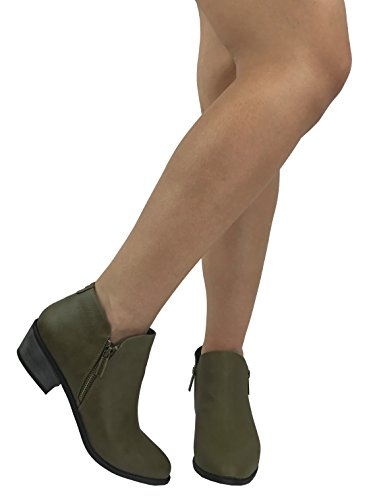 Bella Marie Womens Arianna Ankle Bootie Zipper Side V Cut Low Chunky Stacked Heel Olive ppZ6P