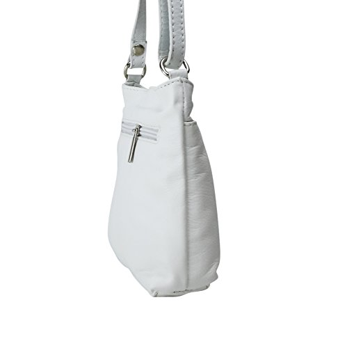 Cross Strap Body Soft Bag Shoulder Fronted Genuine Handbag White Italian Leather or Small Bpgnfafq