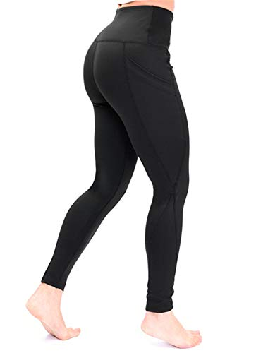 Yoga Pants with Pocket for Women High Waisted Workout Leggings Soft Tummy Control Joggers Capri Leggings (XX-Large, Black)