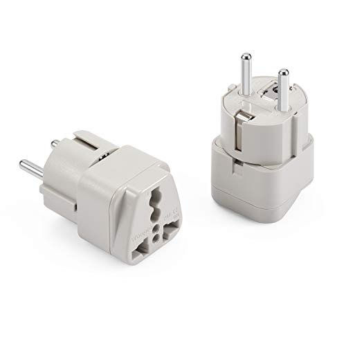 OREI Grounded 2 in 1 Plug Adapter Russia Type E//F - Europe UAE 4 Pack