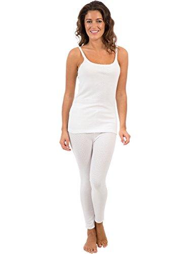 Viloft ® Mujeres/Damas Ropa Interior Set, Chaleco De Camisola Y Pantalón Largo Blanco, Varios Tamaños
