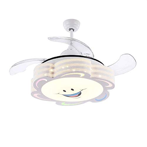 HELIn Ceiling Fans Kids-42 Inch Smiley Face Fan Chandelier with Modern Simple Style-for Children's Room, Bedroom and Living Room