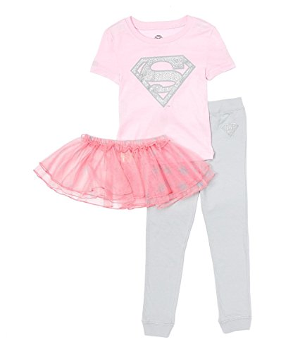 Superhero Dance Costumes (DC Comics Girls' Toddler Supergirl 'Super Shiny Ballet Tutu' Cotton Pajama Set, Multi,)