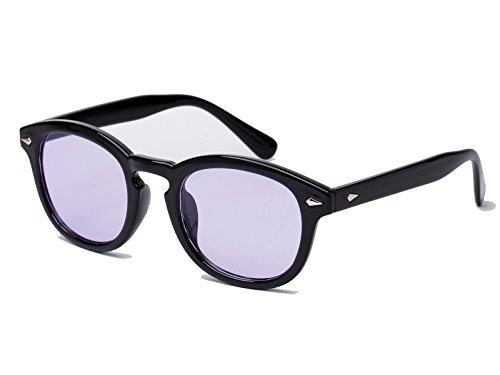 Bestum Retro Inspired Sunglasses With Rivets Tinted Lens UV400 (Black, Light - With Lenses Sunglasses Light