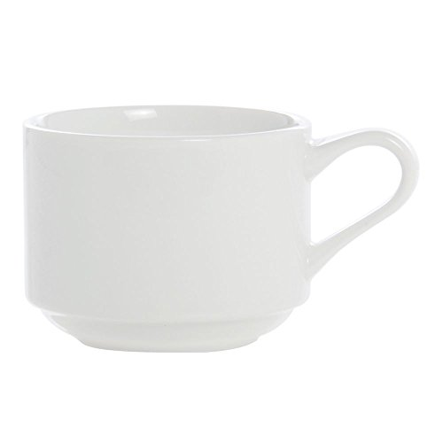 ITI BL-23 Bristol Porcelain 9-Ounce Fine Porcelain Stackable Cup, Bright White, 36-Piece
