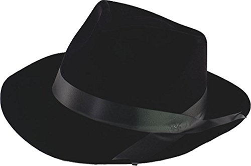 Flock Gangster Hat (Adult Fancy Party Dress Headwear Accessory Mafia Gangster Flock Hat Black)