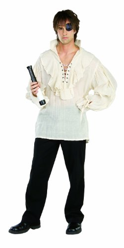 Jareth The Goblin King Costume (Rubie's Costume Adult Pirate Shirt, White, X-Large Costume)