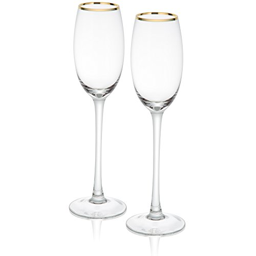 - Trinkware Empire Gold Rimmed Set of 2 Champagne Flutes - Long Stem, 9oz, 10.75-inches Tall - Elegant Glassware And Stemware