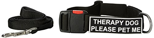 Dean & Tyler Therapy Dog Please Pet Me 21 by 26-Inch Patch Collar with 6-Feet Stainless Snap Padded Puppy Leash, Medium, Black by Dean & Tyler