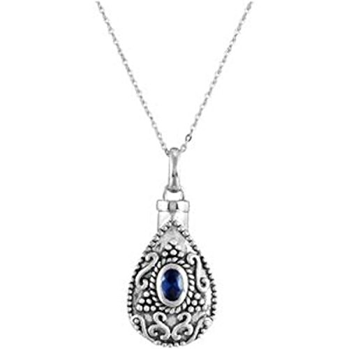 Blue CZ Teardrop Ash Holder Necklace, Rhodium Plate Sterling Silver, 18'' by The Men's Jewelry Store (Unisex Jewelry)