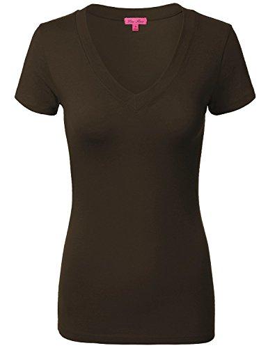 Comfy Basic Cotton Short Sleeve V-neck Top T-Shirts 005-Brown US L