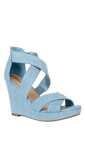 Breckelle's Goldie-01 Women Strappy Platform Wedge Sandal - Peep Toe Wedge Heel - Caged Heel Sandal (8, Blue Denim) Peep Toe Wedge Heels