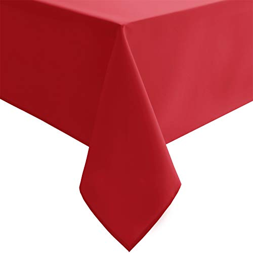 Homedocr Red Tablecloth Rectangle - Washable, Stain Resistant and Spillproof Fabric Table Cloth for Kitchen and Dining Room, 54 x 108 inch