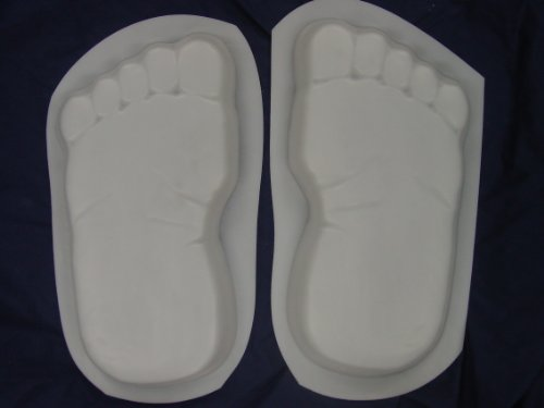 Huge 16 Inch Footprints Bare Feet Stepping Stone Concrete Mold Set (Cement Stepping Stone Mold)