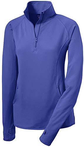 Joe's USA Ladies Moisture Wicking Stretch 1/2-Zip Pullover Sweatshirt- M Iris Purple
