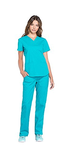 Cherokee Workwear Professionals Women's V-Neck Top WW665 & Women's Pull-On Cargo Pant WW170 Scrub Set (Teal Blue - X-Small/XSmall Petite)