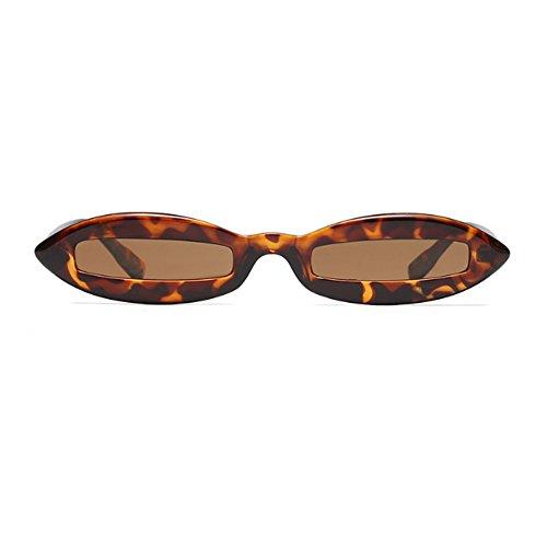 Mujeres Huicai Diseñador Eyewear Small Completo Té moda de Leopardo Patrón Oval Oval Sunglasses Fashion de Frame waqIrRqH