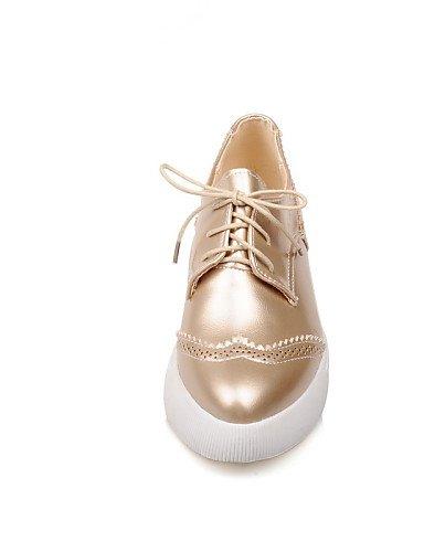 Noir Décontracté Plat Chaussures Uk3 Cn34 Bout Golden Richelieu us5 A Femme Talon Or Eu35 Similicuir Plateau Argent Pointu Njx qEntHx1ww