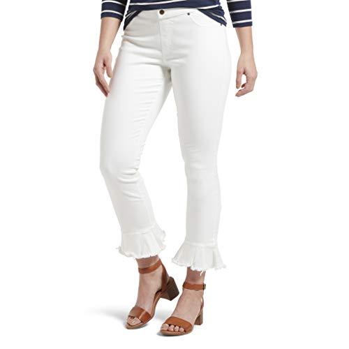 HUE Women's Fashion Denim Jean Skimmer Leggings, Tulip Flare Hem/White, XL