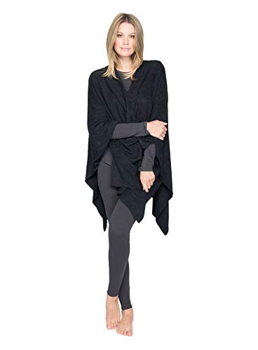 BarefootDreams Bamboo Chic Lite Weekend Wrap - Black,One Size