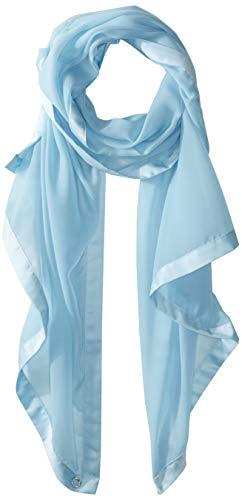 (Calvin Klein Women's Satin Border Chiffon Scarf, Pastel Blue, One Size)