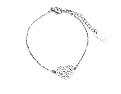 BC1780F - Bracelet Fine Chaîne avec Charm Coeur Ajouré Acier Argenté - Mode Fantaisie