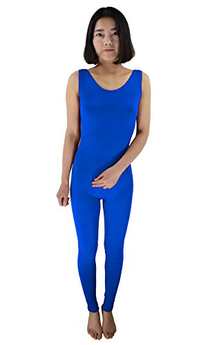Ensnovo Womens Spandex Bodysuit Sleeveless Tank Tops Scoop Neck Footless Unitard Blue,XXL (Footless Unitard)