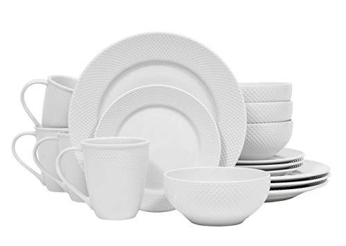 Dinnerware Set. 16 Piece Round Dinner Dish Kit For 4. White Embossed Hobnail Pattern, Kitchen Everyday Dishware, Dining Plates, Bowls, Mugs. Porcelain, Universal Tableware, Microwave, Dishwasher Safe. (Dinnerware Hobnail White)
