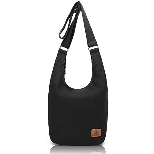 "coton pose Hippie Crossbody Bag Thai Top Zip Hobo Sling Bag Cotton Jacquard cloth Handmade Bags (Black), long10"" width7"" high12?"