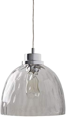 Rivet Glass Bowl Pendant Lamp, Modern Textured, W Bulb, 13 -60 H, Chrome