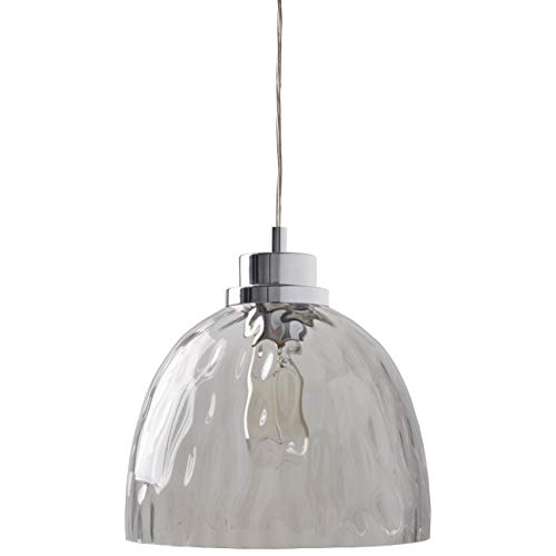(Rivet Modern Textured Smokey Grey Glass Bowl Shade Ceiling Pendant Chandelier With Light Bulb- 10.5 x 10.5 Inches, 13 - 60 Inch Cord, Chrome)