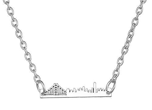 LIKGREAT New York City Manhattan Bridge Skyline Pendant Necklace for Women Girls
