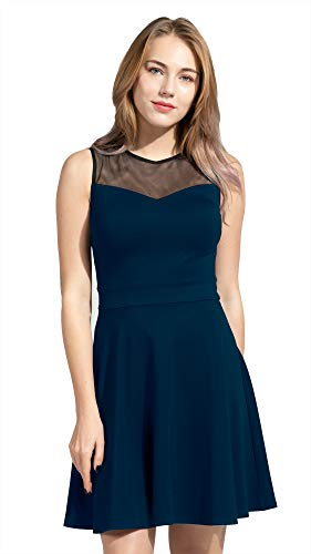 Sylvestidoso Women's A-Line Sleeveless Pleated Little Dark Navy Blue Cocktail Party Dress with Black Mesh (XL, ()