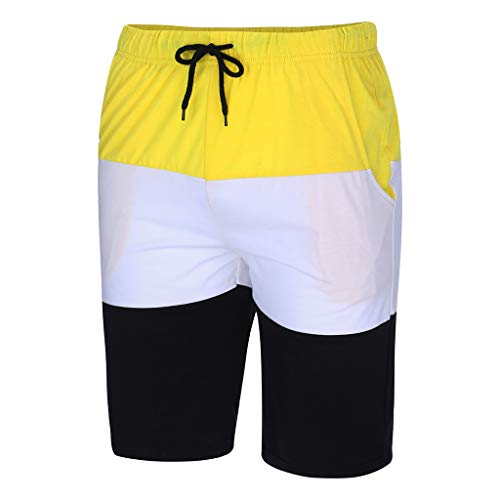 Men's Lightweight Sport Shorts, Mmnote Tall Side Elastic Casual Classic Fit Active Shorts,Yellow