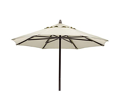 - Beach Decor Premium Furniture Commercial Outdoor Market 7.5' Round Umbrella, Textured Kona Frame, Atlantic Blue Stripe Fabric