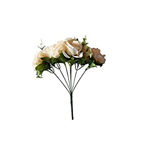 L.DA.DUO Fake Flowers Real Touch Artificial Rose Silk Flowers Bouquet Wedding Home Decoration,Pack of 1 (Ivory) 54