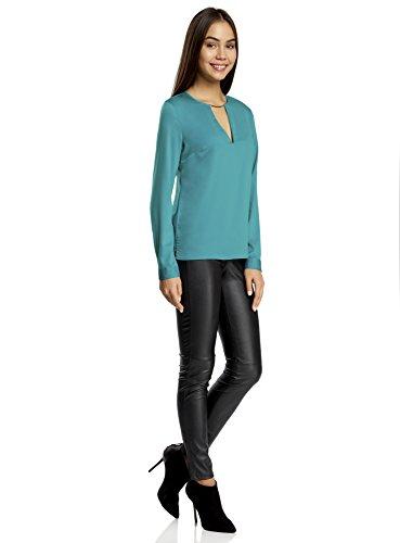 oodji Collection Mujer Blusa con Escote Gota y Decoración Metálica Turquesa (7300N)