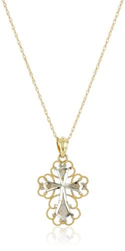 14k Yellow Gold Cross with Filigree Pendant Necklace, 18