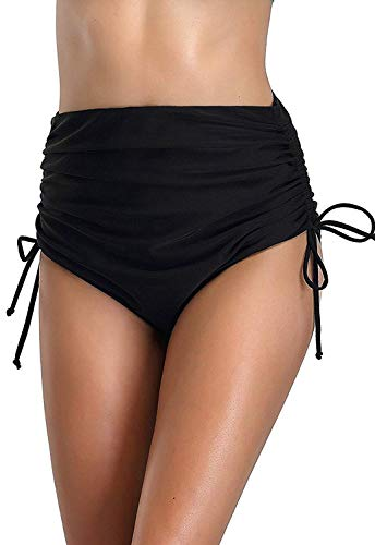 - FanShou Women Classic High Waisted Swim Bottom Tummy Control Tie Side Ruching Bikini Tankini Bottom Swim Brief Swimwear (Black, Medium)