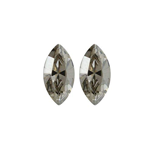 (Swarovski Crystal, 4228 Xilion Navette Fancy Stone 8x4mm, 2 Pieces, Crystal Silver Shade F)