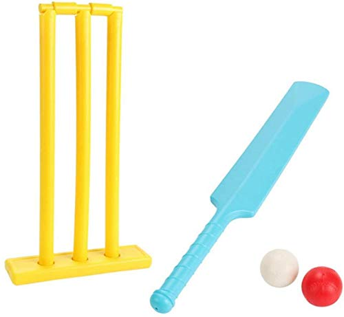Kidoloop® Junior Multi Colored Cricket Set | Perfect Training Toy for Children | Plastic Bat and Ball with Stand…