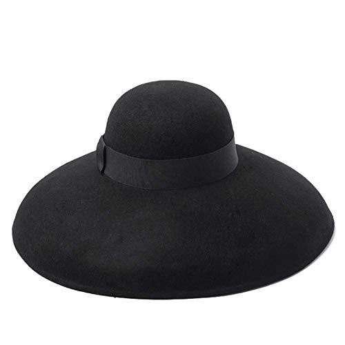 European and American fashion retro big pot type wool hat top show concave shape elegant wool felt big hat