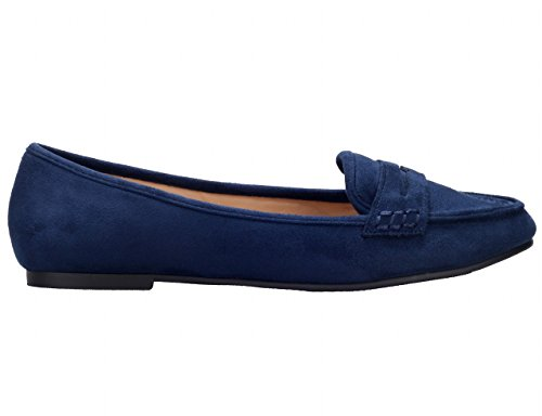 Greatonu Womens Faux Suede Comfort Slip-on Penny Loafer Platte Schoenen Blauw
