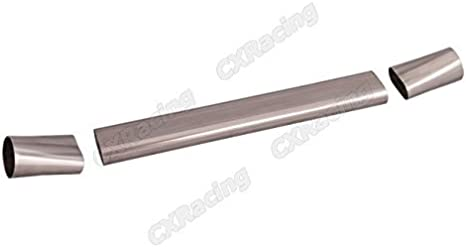 """Round Coverter CXRacing 3/"""" Oval 45 Degree 304 Stainless Steel Pipe"""