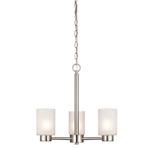 Westinghouse 6227500 Sylvestre Three-Light Interior Chandelier, Brushed Nickel Finish with Frosted Seeded (Contemporary Brushed Nickel Chandelier)