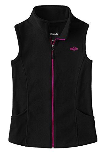 Wantdo Women's Outdoor Full Zipper Fleece Vest Black L (Full Womens Fleece Vest)